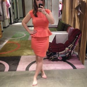 ALICE + OLIVIA coral victoria peplum dress